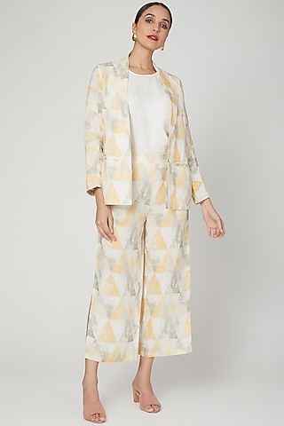 Yellow Printed Pants With Slits by Linen Bloom