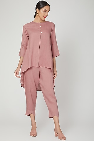 Rose Pink Elasticated Pants by Linen Bloom