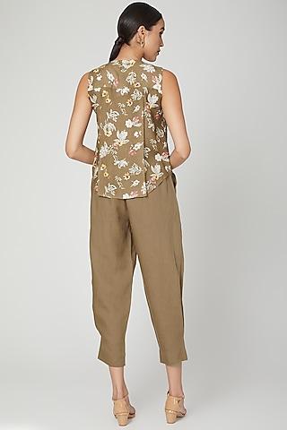 Khaki Brown Elasticated Linen Pants by Linen Bloom