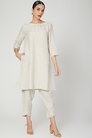 Beige Dress With Hand Stitch Detailing by Linen Bloom
