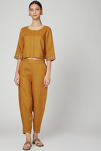 Mustard Embroidered Linen Blouse by Linen Bloom