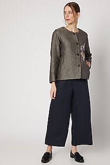 Grey Floral Embroidered Jacket by Linen Bloom