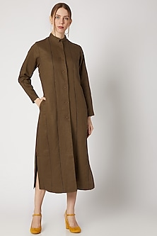 Tobacco Brown Long Jacket by Linen Bloom