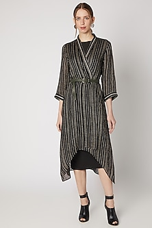 Black Embroidered Asymmetric Cape by Linen Bloom