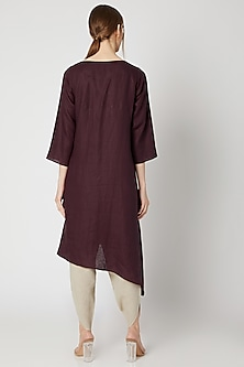 Wine Embroidered Long Tunic by Linen Bloom