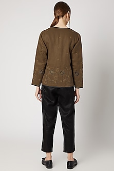 Tobacco Brown Embroidered Quilted Jacket by Linen Bloom