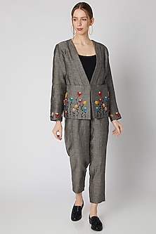 Grey Embroidered Woolen Jacket by Linen Bloom