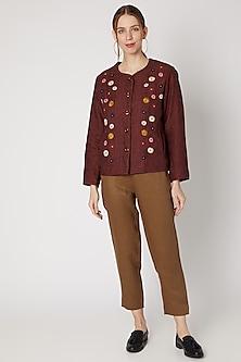 Merlot Embroidered Short Jacket by Linen Bloom