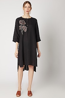 Charcoal Grey Embroidered Tunic by Linen Bloom