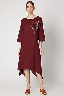 Ruby Red Embroidered Tunic by Linen Bloom