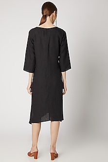Charcoal Grey Embroidered Long Tunic by Linen Bloom