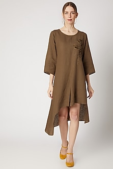 Tobacco Brown Embroidered Asymmetric Tunic by Linen Bloom