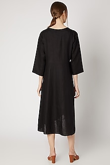 Black Embroidered Linen Tunic by Linen Bloom
