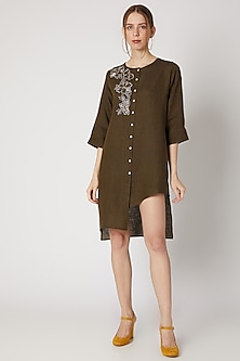 Dark Khaki Brown Embroidered Tunic by Linen Bloom