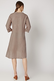 Fawn Beige Embroidered High-Low Tunic by Linen Bloom