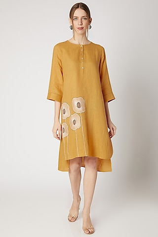 Ochre Yellow Embroidered High-Low Tunic by Linen Bloom
