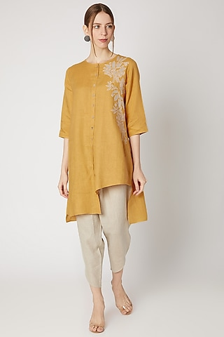Ochre Yellow Embroidered Tunic by Linen Bloom