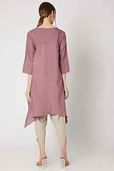 Dusty Pink Embroidered High-Low Tunic by Linen Bloom