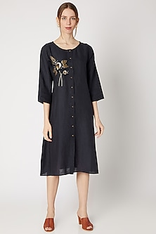 Midnight Blue Embroidered Long Tunic by Linen Bloom
