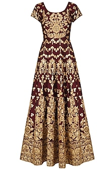 Maroon and Gold Floral Embroidered Anarkali Set by Kylee