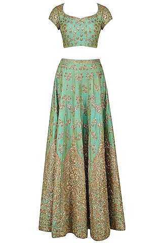 Mint Green and Gold Floral Embroidered Lehenga Set by Kylee
