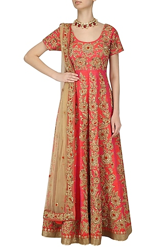 Orange and Gold Jaal Embroidered Anarkali Set by Kylee