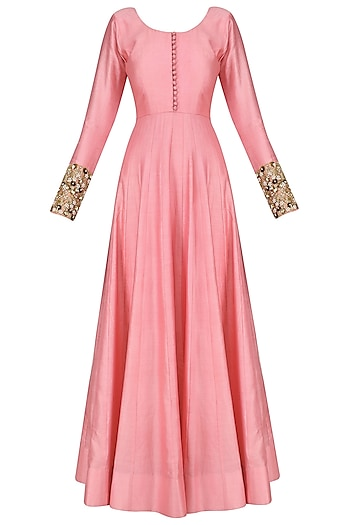 Pink Anarkali Set with Floral Embroidered Dupatta by Kylee