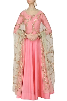 Pink Anarkali Set with Floral Embroidered Dupatta by Kylee
