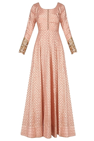 Peach Anarkali Set with Floral Embroidered Dupatta by Kylee
