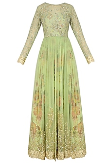 Dusty Green Floral Embroidered Anarkali Gown by Kylee
