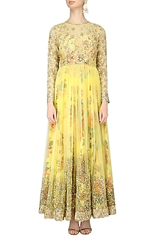 Lemon Yellow Floral Embroidered Anarkali Gown by Kylee
