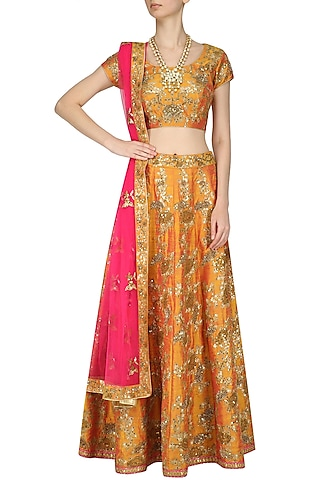 Orange and Gold Embroidered Kalidaar Lehenga Set by Kylee