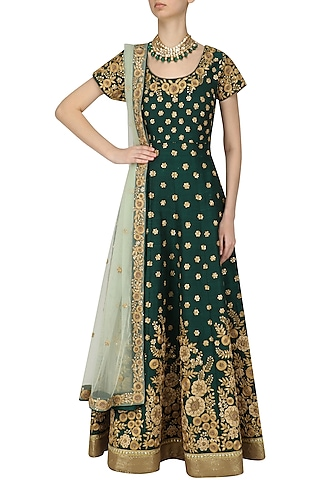 Bottle Green and Gold Floral Work Anarkali Set by Kylee