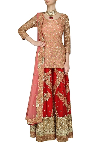 Salmon Pink Sequinned Kurta with Red Sharara Pants by Kylee