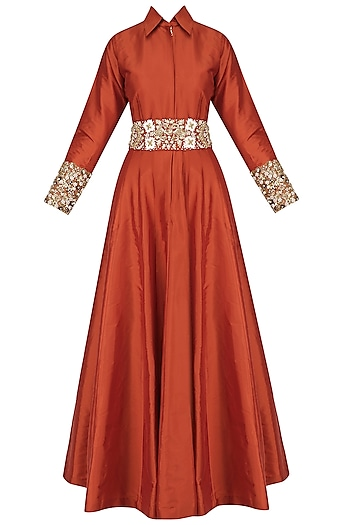 Red Floral Waistband Collared Gown by Kylee