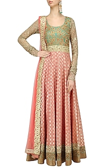 Peach and Mint Green Embroidered Anarkali Set by Kylee