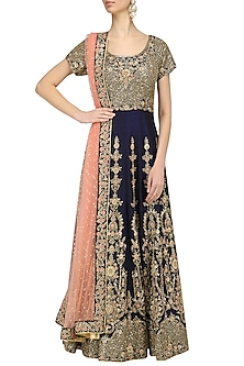Navy and Peach Embroidered Anarkali Set by Kylee