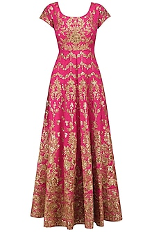Magenta and Beige Embroidered Anarkali Set by Kylee