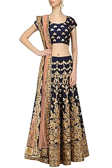Navy and Gold Embroidered Lehenga Set by Kylee