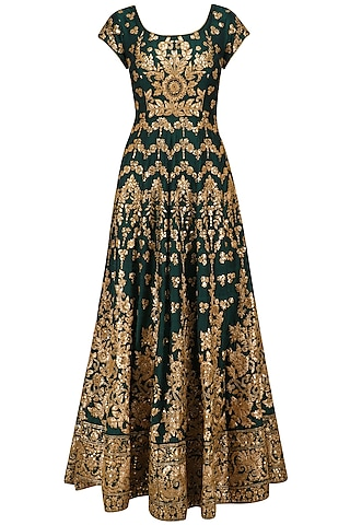 Bottle Green Embroidered Anarkali Set by Kylee