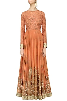 Dusty Peach Embroidered Anarkali Gown by Kylee