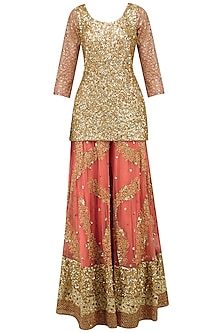 Salmon Pink Embroidered Sharara Set by Kylee