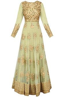 Mint Green Floral Embroidered Anarkali Set by Kylee