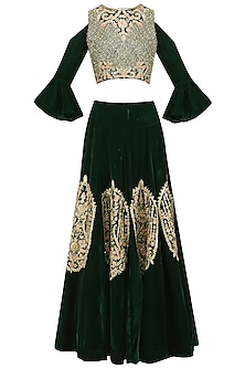 Bottle Green Floral and Paisley Embroidered Crop Top and Skirt Set by Kylee
