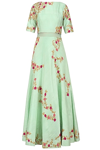 Mint Green and Peach Floral Embroidered Anarkali Set by Kylee
