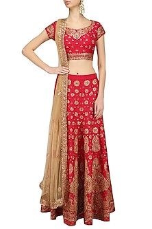 Red Embroidered Lehenga Set by Kylee