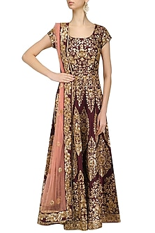 Maroon and Gold Embroidered Anarkali Set by Kylee