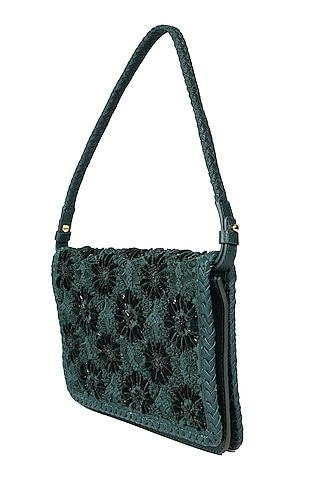 Forest Green Embroidered Shoulder Bag by The Leather Garden