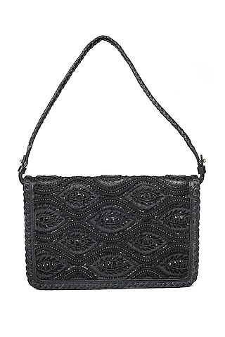 Black Embroidered Shoulder Bag by The Leather Garden