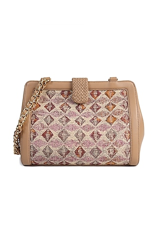 Nude Crossbody Handbag With Interlaced Chain by The Leather Garden